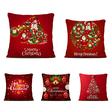 cheap Decorative Pillows-Set of 5 Linen Cotton Pillow Cover Holiday Christmas Modern Christmas Throw Pillow