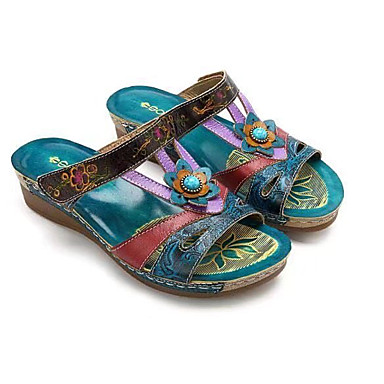 cheap Women's Sandals-Women's Sandals Summer / Fall Wedge Heel Open Toe Casual Daily Home Flower Faux Leather Blue