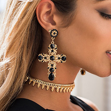 cheap Women's Jewelry-Women's Drop Earrings Cross Statement Stylish Luxury Elegant European Earrings Jewelry Black / Blue / Purple For Wedding Party Evening Engagement Prom