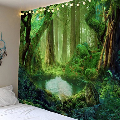 cheap Wall Tapestries-Wall Tapestry Art Decor Blanket Curtain Picnic Tablecloth Hanging Home Bedroom Living Room Dorm Decoration Cartoon Fantasy Forrest House