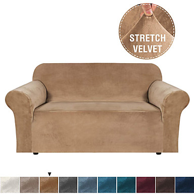 cheap Home Textiles-Stretch Velvet Sofa Covers for 3 Cushion Couch Covers Sofa Slipcovers with Non Slip Straps Underneath The Furniture Crafted from Thick Comfy Rich Velour