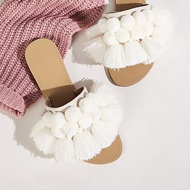 cheap New Arrivals-Women's Slippers & Flip-Flops Summer Flat Heel Open Toe Daily Faux Fur White / Fuzzy Slippers