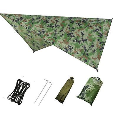 cheap Camping, Hiking & Backpacking-Hammock Rain Fly Outdoor Breathability Wearable Reusable Adjustable Flexible Folding Polyster for 2 - 3 person Hunting Beach Camping Blue Camouflage Green 230*140 cm