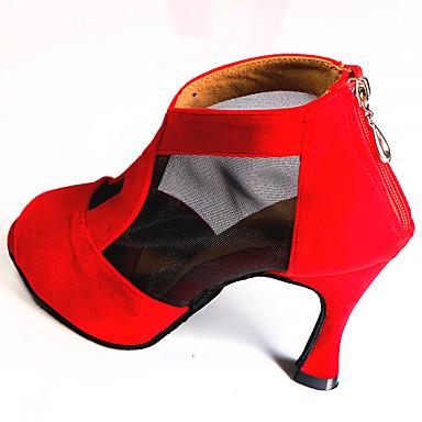 저렴한 신발 & 가방-여성용 라틴 슈즈 새틴 지퍼 타입 힐 플레어 힐 주문제작 가능 댄스 신발 레드