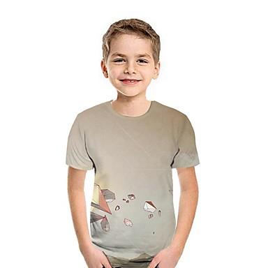 cheap Boys' Tops-Kids Boys' Street chic Animal Short Sleeve Tee Wine