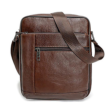 cheap Men's Bags-Shoulder Messenger Bag Crossbody Bag Men's Genuine Leather Zipper Office & Career Black Brown
