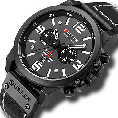 cheap Sport Watches-CURREN Men's Sport Watch Military Watch Quartz PU Leather Black / Red / Brown Water Resistant / Waterproof Altimeter Calendar / date / day Analog Luxury Classic Vintage - Black Blue Red / Chronograph