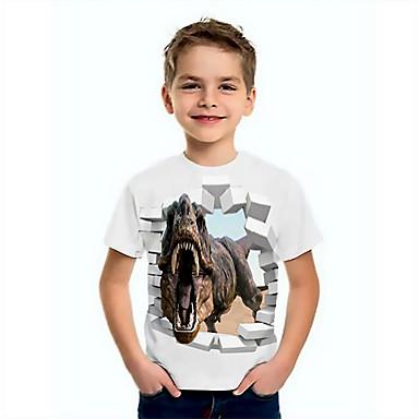 cheap Baby & Kids-Kids Boys' Basic Dinosaur Animal Print Short Sleeve Tee White