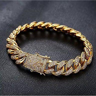 cheap Men's Jewelry-Men's White Bracelet Cuban Link Weave Trendy Alloy Bracelet Jewelry Gold / Silver For Party Evening