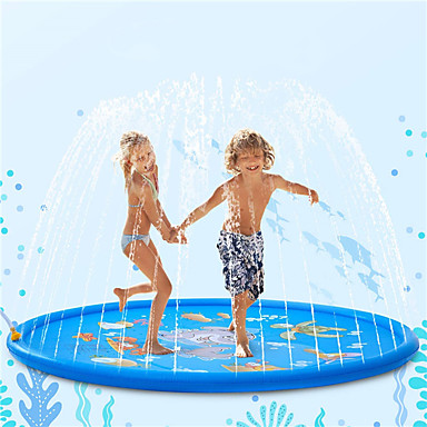 cheap Inflatable Ride-ons & Pool Floats-Splash Pad 68Kids Sprinkler Pad for 1 2 3 4 5 Year Old Toddler Children Boys Girls Inflatable Shark Water Toys Fun for Outdoor Upgraded Sprinkle and Splash Play Mat with Wading Pool