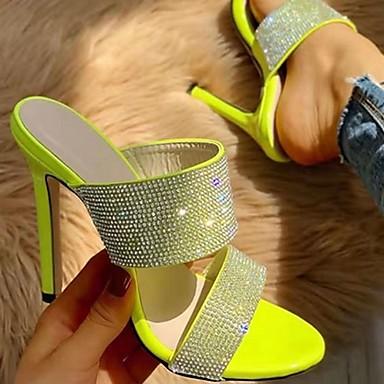 رخيصةأون أحذية النساء-نسائي قباقيب والحفاية / النعال ومتخاذلا يتخبط الصيف كعب ستيلتو اصبع القدم المفتوح مناسب للبس اليومي PU أخضر