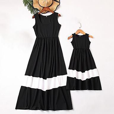 billige Familie-tøjsæt-Mommy og mig Vintage Sød Sort og hvid Farveblok Trykt mønster Uden ærmer Maxi Kjole Sort