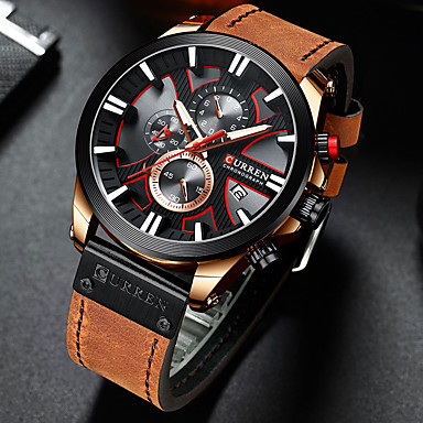 cheap Sport Watches-CURREN Men's Sport Watch Quartz Stylish Vintage Water Resistant / Waterproof PU Leather Black / Blue / Brown Analog - Black Blue Silver / Altimeter / Calendar / date / day / Chronograph / Large Dial