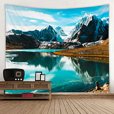 cheap Wall Tapestries-Scenic Snow Mountain Lake Digital Printed Tapestry Decor Wall Art Tablecloths Bedspread Picnic Blanket Beach Throw Tapestries Colorful Bedroom Hall Dorm Living Room Hanging