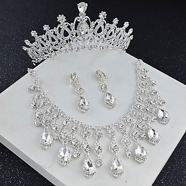 cheap Jewelry Sets-Women's Crystal Bridal Jewelry Sets Transparent Drop Flower Elegant Vintage Earrings Jewelry White For Wedding Party 1 set
