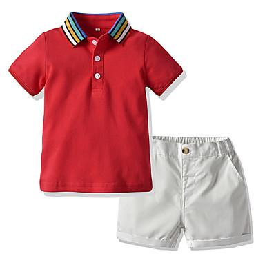tanie Odzież dla chłopców-Dzieci Dla chłopców Podstawowy Kolorowy blok Krótki rękaw Komplet odzieży Czerwony