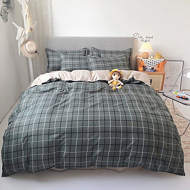 cheap Duvet Covers-4 Piece Duvet Cover Set Colorful Grid Geometric Microfiber Quilt Bedding Cover with Zipper Closure,  Best Organic Modern Style for Men and Women, Plaid