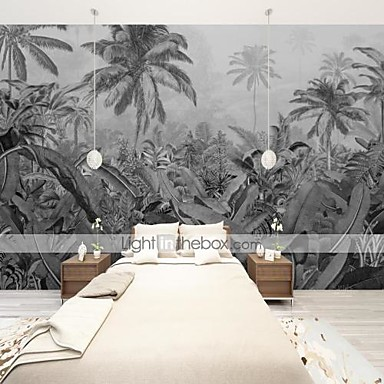저렴한 벽지-아트 데코 사용자 정의 자체 접착 벽화 벽지 동남 아시아 잎 검은 색과 흰색 배경 벽 거실 커피 숍 레스토랑 호텔 벽 장식 예술에 적합
