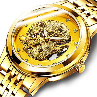 povoljno Mehanički satovi-Muškarci Mehanički Satovi Automatski Vintage Style Classic Style Nehrđajući čelik Zlatna Vodootpornost Svijetli u mraku tourbillon Analog Luksuz Vintage - Obala Crn Zlato