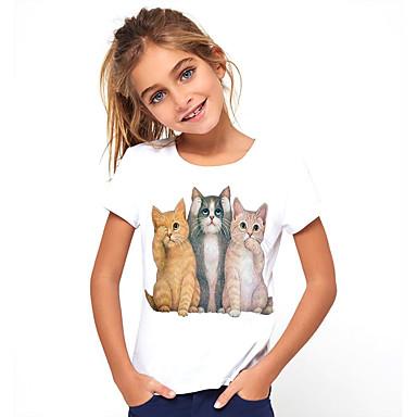 cheap Baby & Kids-Kids Girls' Basic Cat Animal Print Short Sleeve Tee White