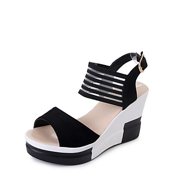 cheap Women's Sandals-Women's Sandals Summer Flat Heel Round Toe Daily Color Block PU Black / Khaki / Brown