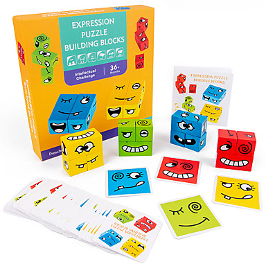 cheap Wooden Puzzles-Wooden Puzzle Puzzle Cube Logic & Puzzle Toy Cartoon Face Transformable Creative Parent-Child Interaction Wooden 12 pcs Kid's Adults' All Toy Gift