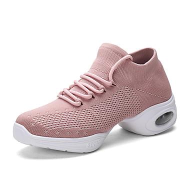 cheap Jazz Shoes-Women's Latin Shoes / Jazz Shoes / Dance Sneakers Mesh / PU / Synthetics Flat / Sneaker Flat Heel Dance Shoes White / Black / Pink