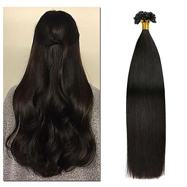 halpa Aitohiuspidennykset-Fusion / U Tip Hiuspidennykset Aidot hiukset 50 kpl Pakkaus Suora Hiuspidennykset