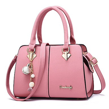cheap Handbag & Totes-Women's Bags PU Leather Top Handle Bag Zipper Chain for Daily Black / Red / Blushing Pink / Green / Beige