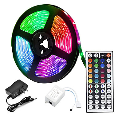 LOENDE 5m LED Strip Lights RGB Tiktok Lights 300 LED 2835 SMD RGB Tape Lights Self Adhesive Multicolor for Room Kitchen TV Festival Illumination with Remote 12V