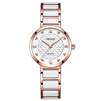 cheap Women's Luxury Watches-Women's Quartz Watches Luxury Fashion Ceramic Quartz Rose Gold White+Gold White Water Resistant / Waterproof Analog