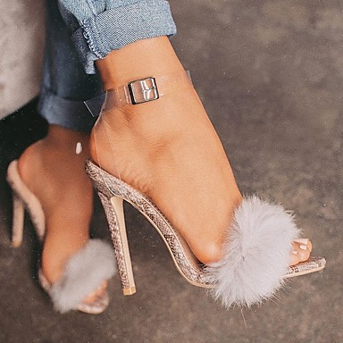 お買い得  レディースサンダル-女性用 サンダル 透明な靴 毛皮のような羽 夏 スティレットヒール オープントゥ 日常 PUレザー ライトブラウン / ブラック / ピンク