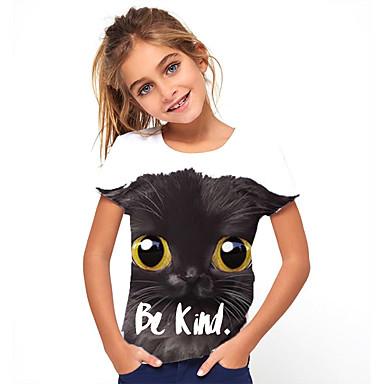 abordables Hauts Filles-Enfants Fille Basique Animal Imprimé Manches Courtes Tee-shirts Noir