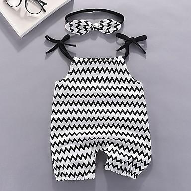 cheap Baby Girls' One-Piece-Baby Girls' Basic Geometric Sleeveless Romper White