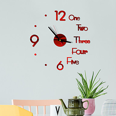 cheap Wall Clocks-DIY Digital Wall Clock 3D Mirror Surface Sticker Silent Clock Home Office Decor Wall Clock For Bedroom Office Batteries Not Included