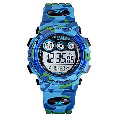 cheap Women's Watches-SKMEI Kids Digital Watch Digital Sporty PU Leather Blue / Green / Navy 30 m Calendar / date / day Chronograph Alarm Clock Digital Outdoor - Blue Green Light Blue One Year Battery Life