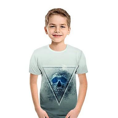 cheap Boys' Tops-Kids Boys' Street chic Geometric Short Sleeve Tee White