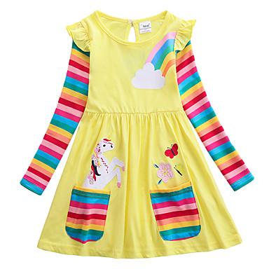 povoljno Beba & Djeca-Djeca Djevojčice slatko Unicorn Crtani film Vezeno Dugih rukava Do koljena Haljina Bijela