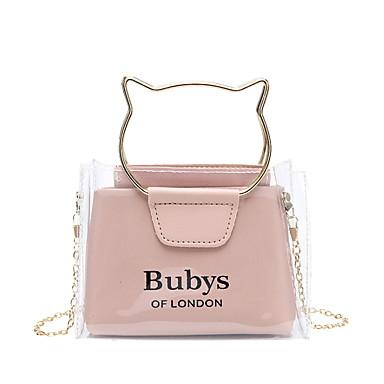 cheap Bags-Women's Zipper PU Leather Bag Set Laser Jelly Bags Solid Color 2 Pieces Purse Set Black / Blue / Red
