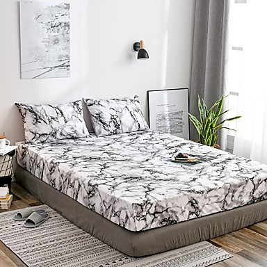cheap Sheet Sets & Pillowcases-White Marble Fitted Sheet Bedding Soft Microfiber Sheets White Marble Pattern Soft Hypo-allergenic Wrinkle Resistant Durable Deep Pocket Bedding Bottom Sheet Single/Full/Queen/King