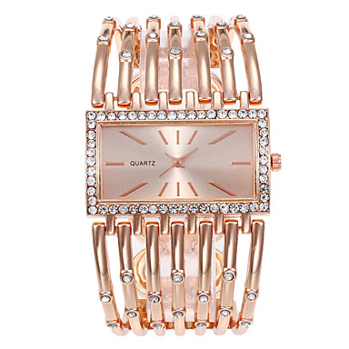 cheap Square & RectangularWatches-Women's Quartz Watches Casual Fashion Silver Gold Rose Gold Alloy Chinese Quartz Rose Gold Gold Silver Casual Watch Large Dial 1 pc Analog One Year Battery Life