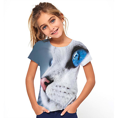 ieftine Kids CollectionUnder $8.99-pentru copii fete de bază pentru animale de companie pentru petrecerea timpului liber și minunat tricou cu mânecă scurtă albastru deschis