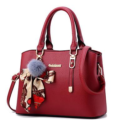 cheap Handbag & Totes-Women's Bags PU Leather Top Handle Bag Zipper Pom-pom for Daily Wine / Black / Blushing Pink / Royal Blue / Dark Purple