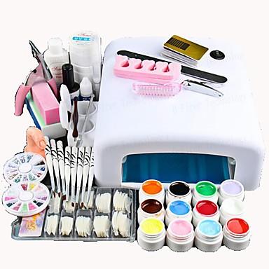cheap Nail Tools & Equipments-Nail Designs 2020 25 Pcs Nail Acrylic Set Kits 12 Colors UV gel 36W LED UV Nail Lamb/ Nail Dryer False Nail Basic Nail Art Tools for Beginner Nail salon In Stock