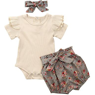 cheap Clearance-Baby Girls' Basic Floral Sleeveless Regular Clothing Set Gray