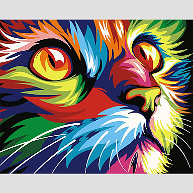 """cheap Wall Art-Paint by Number Kit for Adults Kids Beginner DIY Canvas Painting by Numbers for Home Decoration Colorful Animal 16""""x20"""" No Frame"""