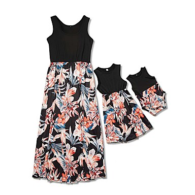 cheap Family Matching Outfits-Mommy and Me Basic Boho Floral Ruched Print Sleeveless Maxi Dress Black