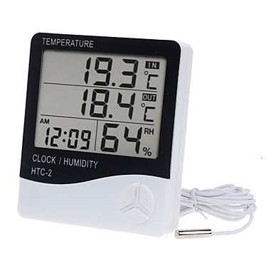 cheap Aquarium Heaters & Thermometers-LCD Digital Temperature Humidity Meter Home Indoor Outdoor hygrometer thermometer Weather Station with Clock
