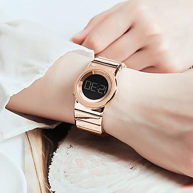 cheap Women's Digital Watches-Women's Digital Watch Outdoor Fashion Stainless Steel Digital Rose Gold Black Blue Water Resistant / Waterproof Digital
