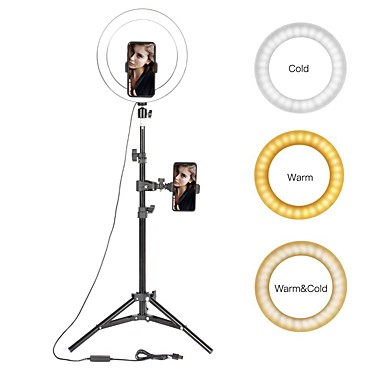 cheap Camera & Photo-Selfie Ring Lighting 10 LED Ring Light Photographic with Stand Youtube Makeup Video Studio Tripod Ring Light for Smart Phone
